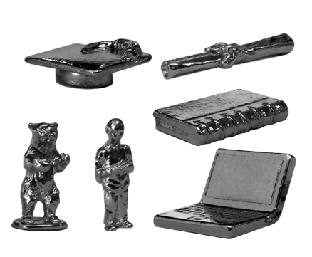 metal pewter nickel plated school game pieces: graduation hat, diploma, backpacker, laptop, notebook and bear